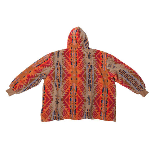 Tribal Pattern Hooded Fleecy Sweatshirt (Size 194x98cm) - Red and Multi Colour