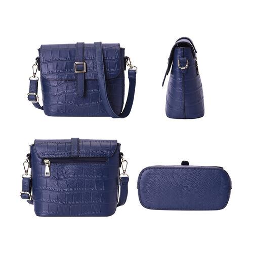 100% Genuine Leather Croc Pattern Crossbody Bag (20x9.5x18cm) - Blue