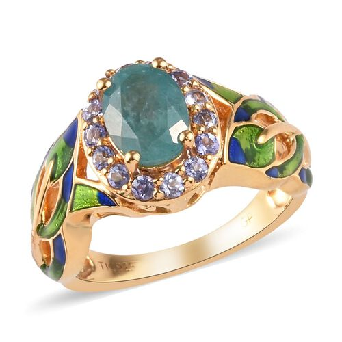 GP 1.20 Ct Grandidierite and Tanzanite and Blue Sapphire Enamelled Halo Ring in Gold Plated Silver