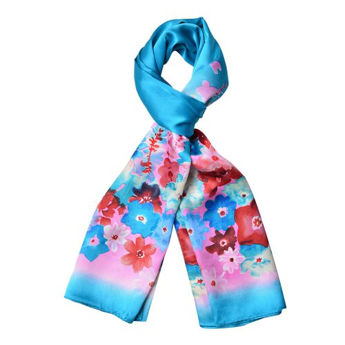 First Time Ever Digital Print - 100% Mulberry Silk Red, Blue and Multi Colour Flower Pattern Scarf (