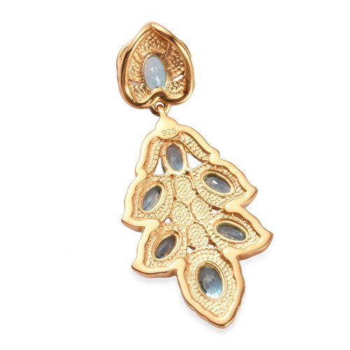 Ratanakiri Blue Zircon Pendant in 14K Gold Overlay Sterling Silver 3.25 Ct.