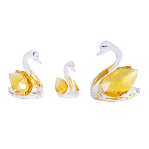 Home Decor - Set of 3 Champagne Austrian Crystal and Faceted Glass Swan (Size 7X6.5X4 Cm, 5.5X5.5X3 Cm and 4.5X4X3 Cm)