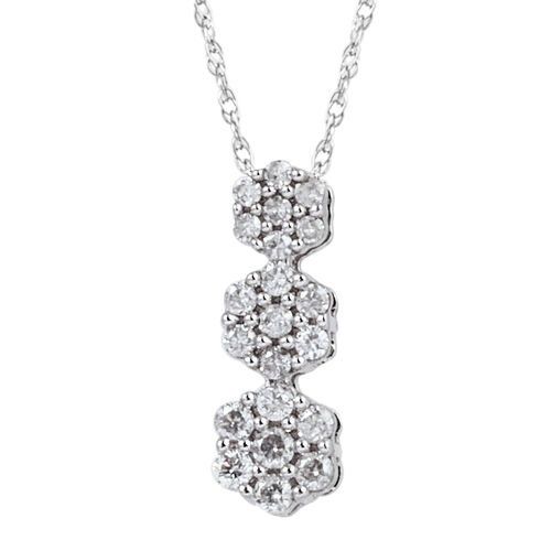 9K White Gold Diamond (Rnd) (I3/G-H) Triple Floral Pendant with Chain 0.250 Ct.