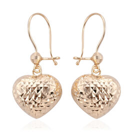 Royal Bali Collection 9K Yellow Gold Diamond Cut Heart Hook Earrings