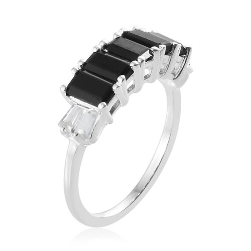 Boi Ploi Black Spinel (Oct), White Topaz Five Stone Ring in Sterling Silver 2.250  Ct.