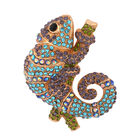 Multi Colour Austrian Crystal Chameleon Brooch in Yellow Gold Tone