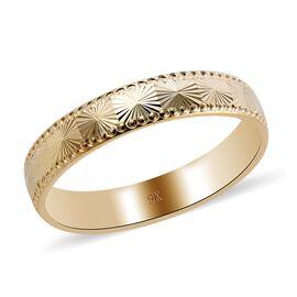 Royal Bali Collection- 9k Yellow Gold Diamond Cut Textured Band Ring