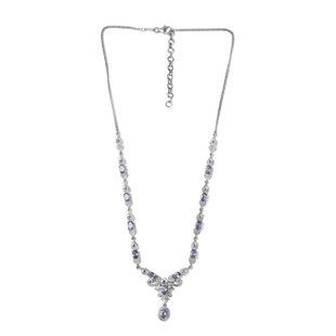 AAA Tanzanite and Natural Cambodian Zircon Necklace (Size 18 with 2 inch Extender) in Platinum Overl