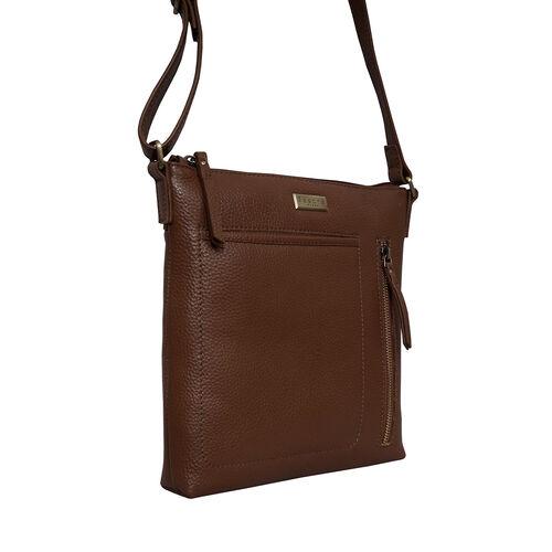 Assots London EDITH 100% Genuine Leather Pebble Grain Crossbody Bag - Tan