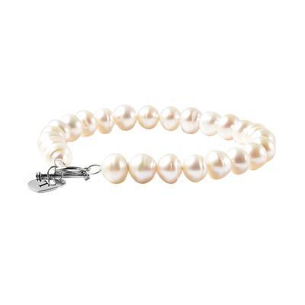 """Personalised Engravable Fresh Water Pearl and Heart t-bar Bracelet, Size 7.5 """" in Silver"""