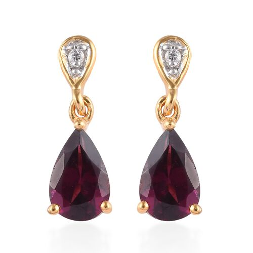 Rhodolite Garnet (Pear), Natural Cambodian Zircon Drop Earrings (with Push Back) in 14K Gold Overlay