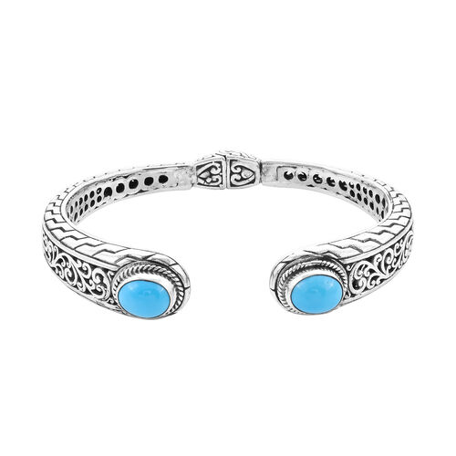 Royal Bali Collection - Arizona Sleeping Beauty Turquoise Filigree Cuff Bangle (Size 7) in Sterling