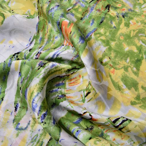 One Time Deal-Designer Inspired - 100% Mulberry Silk Green, Yellow and Multi Colour Landscape Pattern Scarf (Size 88x85 Cm)