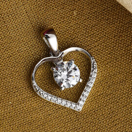J Francis Platinum Overlay Sterling Silver Heart Pendant Made with SWAROVSKI ZIRCONIA 1.54 Ct.