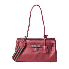 100% Genuine Leather Tote Bag (30x19x8cm) with Stripe Pattern Shoulder Strap in Rose Red