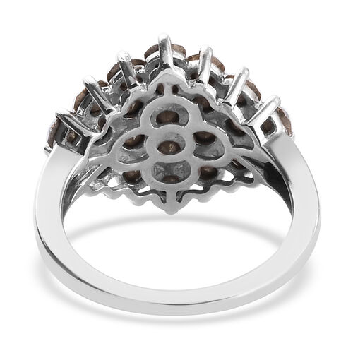 J Francis - Crystal from Swarovski AB Crystal Cluster Ring in Silver Plated