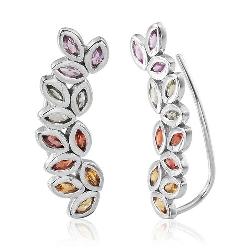 Yellow Sapphire (Mrq), Orange, Pink and Green Sapphire Climber Earrings in Platinum Overlay Sterling Silver 2.750 Ct.