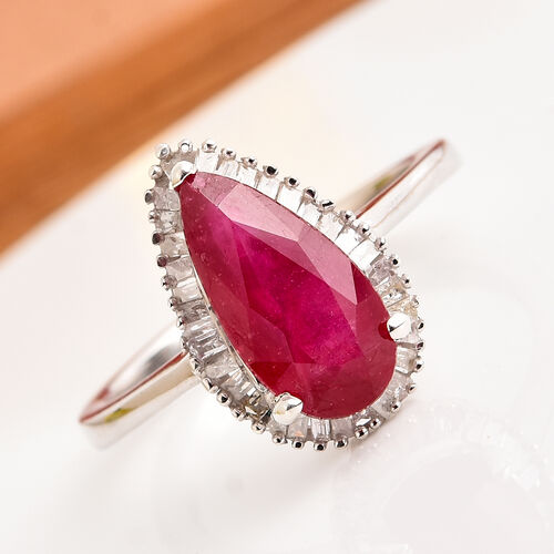 African Ruby and Diamond Ring in Platinum Overlay Sterling Silver 3.20 Ct.