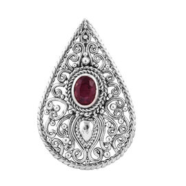 Royal Bali 1.78 Ct African Ruby Drop Pendant in Sterling Silver 5.27 Grams