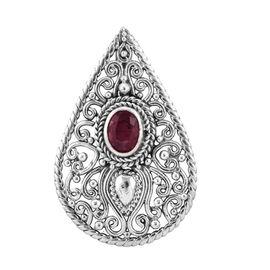 Royal Bali 1.78 Ct African Ruby Drop Pendant in Sterling Silver 5.27 Grams