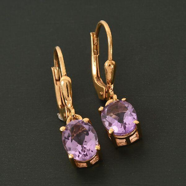 MP AA Rose De France Amethyst (Ovl) Lever Back Earrings in 14K Gold Overlay Sterling Silver 2.27 Ct.