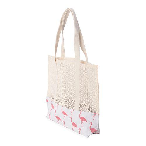 Flamingo Lace Pattern Large Tote Bag (Size 41x39.5x35.5x9.5 Cm)
