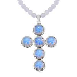 71.50 Ct Opalite and White Agate Cross Beaded Necklace in Platinum Plated