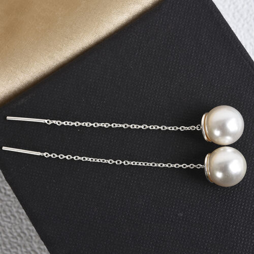 J Francis Crystal from Swarovski White Pearl Dangle Earrings in Sterling Silver