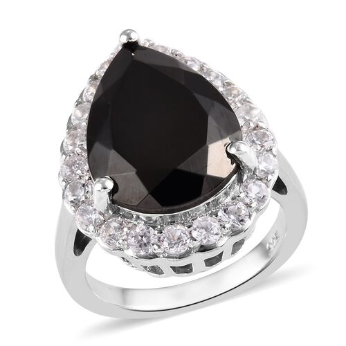 6.50 Ct Elite Shungite and Zircon Halo Ring in Platinum Plated Sterling Silver 5.30 Grams