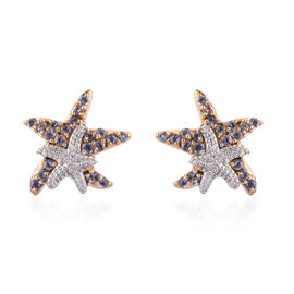 Iolite (Rnd) Star Fish Earrings (With Push Back)  in 14K Gold Overlay Sterling Silver 0.500 Ct.