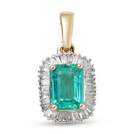 9K Yellow Gold AA Zambian Emerald and Diamond  Pendant 1.23 Ct