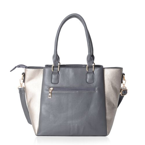 Grey and Gold Metallic Colour Stripe Pattern Tote Bag with Removable Shoulder Strap and External Zipper (Size 36.5x27.5x25x14.5 Cm)
