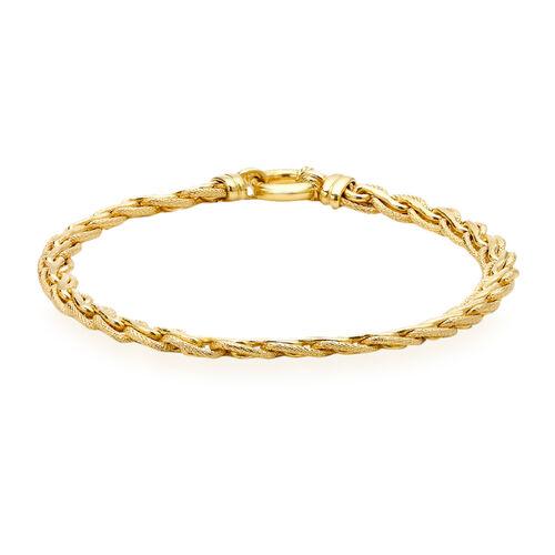 Italian Made - 9K Yellow Gold Fancy Spiga Bracelet (Size 7.5), Gold wt 6.80 Gms.