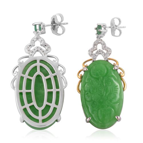 Hand Carved Green Jade (Ovl), Zambian Emerald and Natural White Cambodian Zircon Flower Earrings (with Push Back) in Rhodium and Gold Overlay Sterling Silver 59.900 Ct