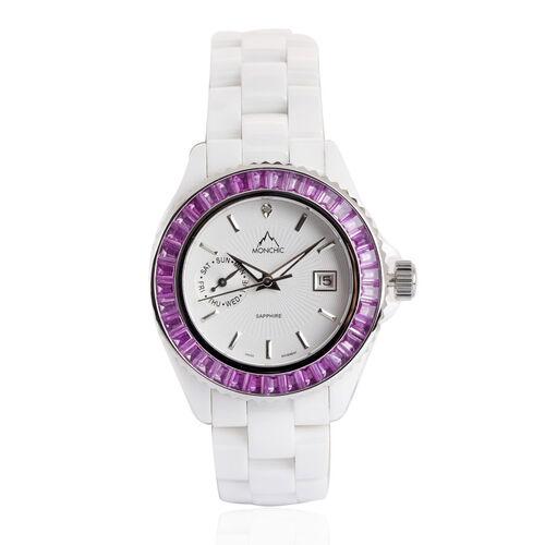 MONCHIC Diamond Collection - Austrian Crystal, Sapphire Glass Ceramic Wristwatch