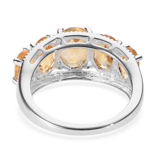 Citrine (Ovl) Five Stone Ring in Sterling Silver 3.50 Ct.