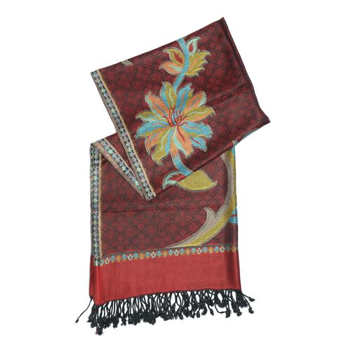 Red, Black and Multi Colour Scarf with Fringes (Size 180x70 Cm)