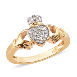 Diamond Claddagh Ring in 14K Gold Overlay Sterling Silver