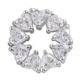 J Francis - Platinum Overlay Sterling Silver (Hrt) Heart Pendant Made With SWAROVSKI ZIRCONIA
