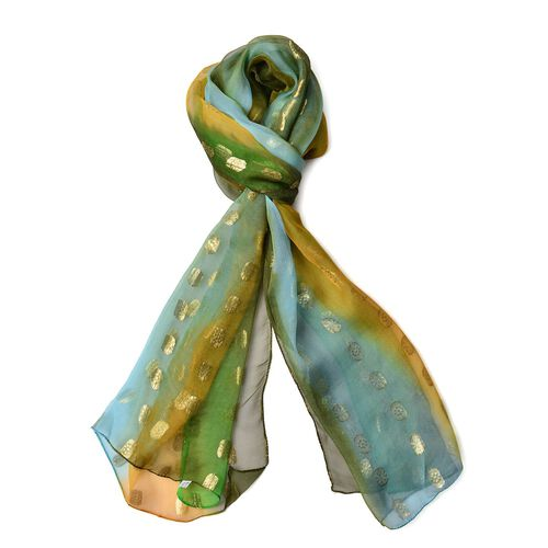 100% Mulberry Silk Golden Dot Pattern Green, Blue and Multi Colour Scarf (Size 180X55 Cm)