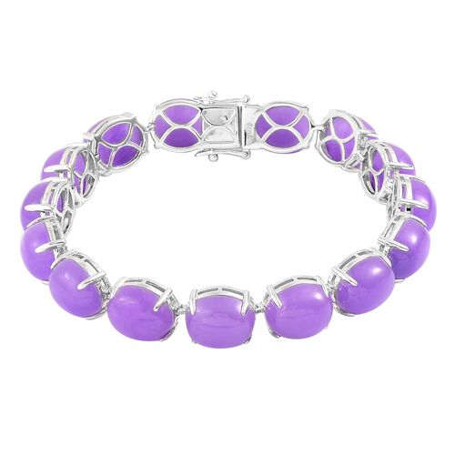 Burmese Purple Jade (Ovl) Bracelet (Size 7.75) and Stud Earrings (with Push Back) in Platinum Overlay Sterling Silver 105.250 Ct.