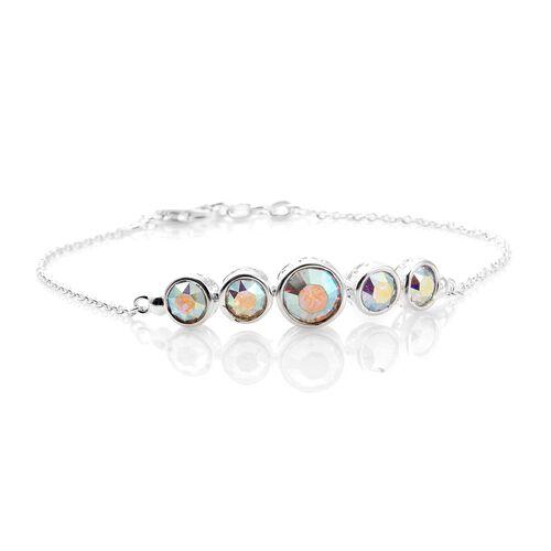 J Francis Crystal from Swarovski - Swarovski AB Colour Crystal (Rnd) 5 Stone Bracelet (Size 7.5 Half inch Extender) in Sterling Silver, Silver wt 4.28 Gms.