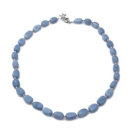 GP - Peruvian Blue Opal and Blue Sapphire Necklace (Size 18) with Star Charm in Rhodium Overlay Ster