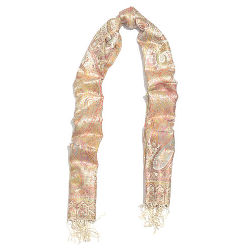 Jacquard Pattern 100% Mulberry Silk Cream, Multi Colour Paisley Pattern Jacquard Jamawar Scarf with Tassels (Size 180X70 Cm) (Weight 125 to 140 Gms)