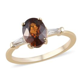 2.25 Ct Red Zircon and Natural Cambodian Zircon Solitaire Design Ring in 9K Yellow Gold