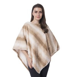 Ice Coffee and White Colour Faux fur Poncho with Strip Pattern (Size 93x80 Cm)