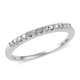 Diamond Stackable Half Eternity Ring in Platinum Overlay Sterling Silver
