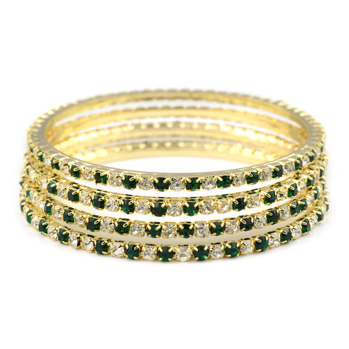 Designer Inspired- 4 Piece Set - Light Green and White Austrian Crystal Bangle (Size 7.5) in Gold Tone