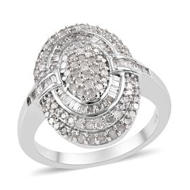 Diamond Platinum Overlay Sterling Silver Ring  0.750  Ct.