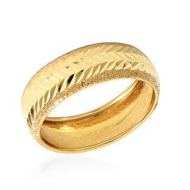 Italian Made - 9K Yellow Gold Diamond Cut Band Ring